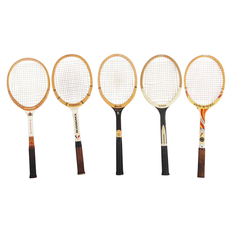 Set of Five Vintage Tennis Rackets
