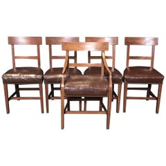 Set of Five Walnut Regency Chairs with Inlaid Frames and Diamond Backs
