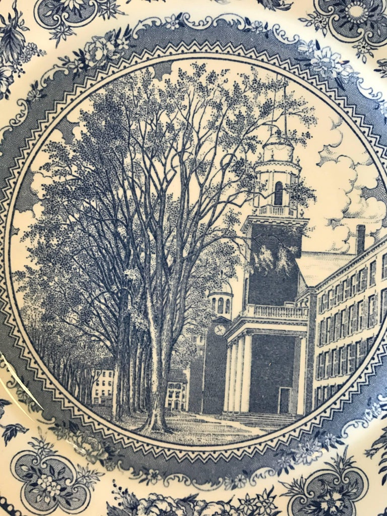 Set of five Wedgwood blue and white dinner plates depicting different Yale University building scenes.