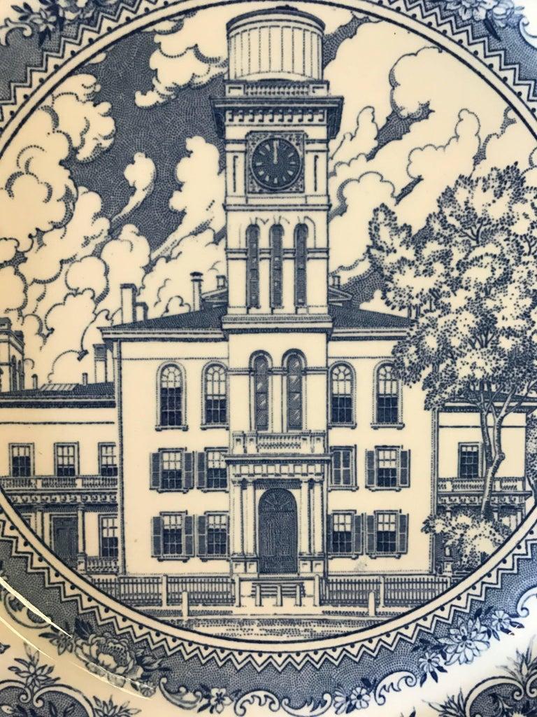 English Set of Five Wedgwood Blue and White Yale University Plates For Sale
