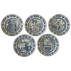 Set of Five Wedgwood Blue and White Yale University Plates