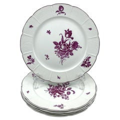 Set of Five Magenta and White Wedgwood Floral Plates