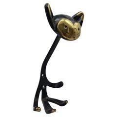 Set of Five Coat Rack in Cat Shape, Brass Blackened, Walter Bosse Vienna Austria
