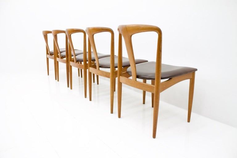 Mid-20th Century Set of Five Teak Dining Chairs Juliane by Johannes Andersen Denmark For Sale