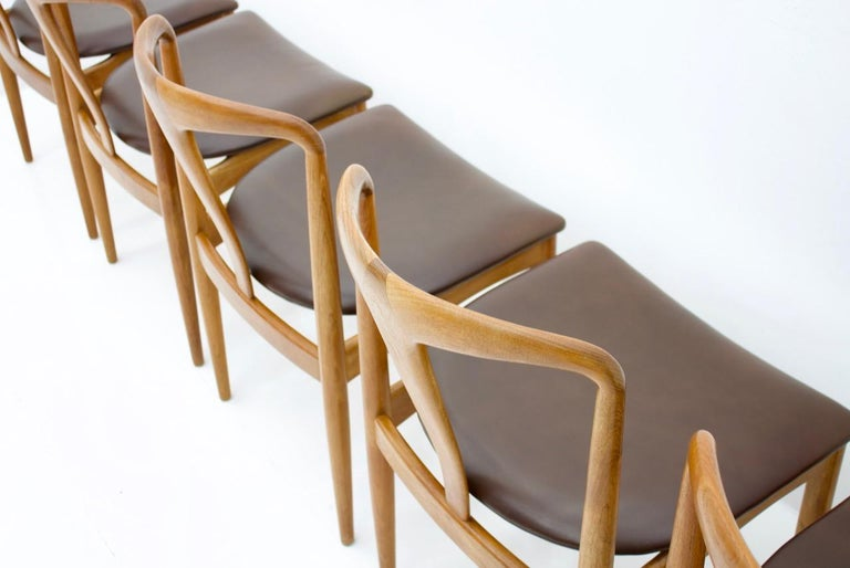 Leather Set of Five Teak Dining Chairs Juliane by Johannes Andersen Denmark For Sale