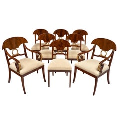 Set of Flamed Swedish Antique Dining Chairs