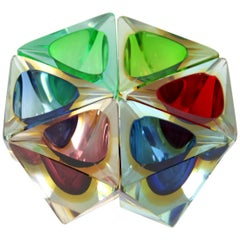 Set of Flavio Poli Faceted Sommerso Rainbow Murano Glass Triangular Bowls