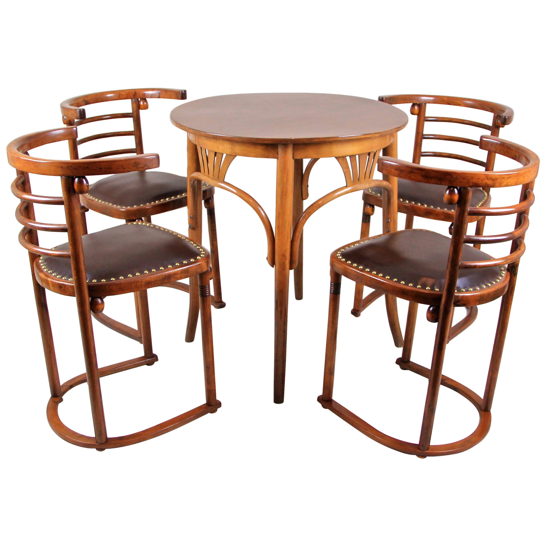 Set of Fledermaus Chairs by J. Hoffmann & Thonet Coffee Table, Austria, ca. 1907