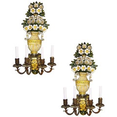 Set of Floral Caldwell Sconces. Sold per pair.
