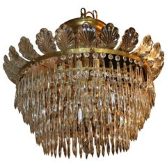 Set of Flushmounted Bronze and Crystal Light Fixtures, Sold Individually