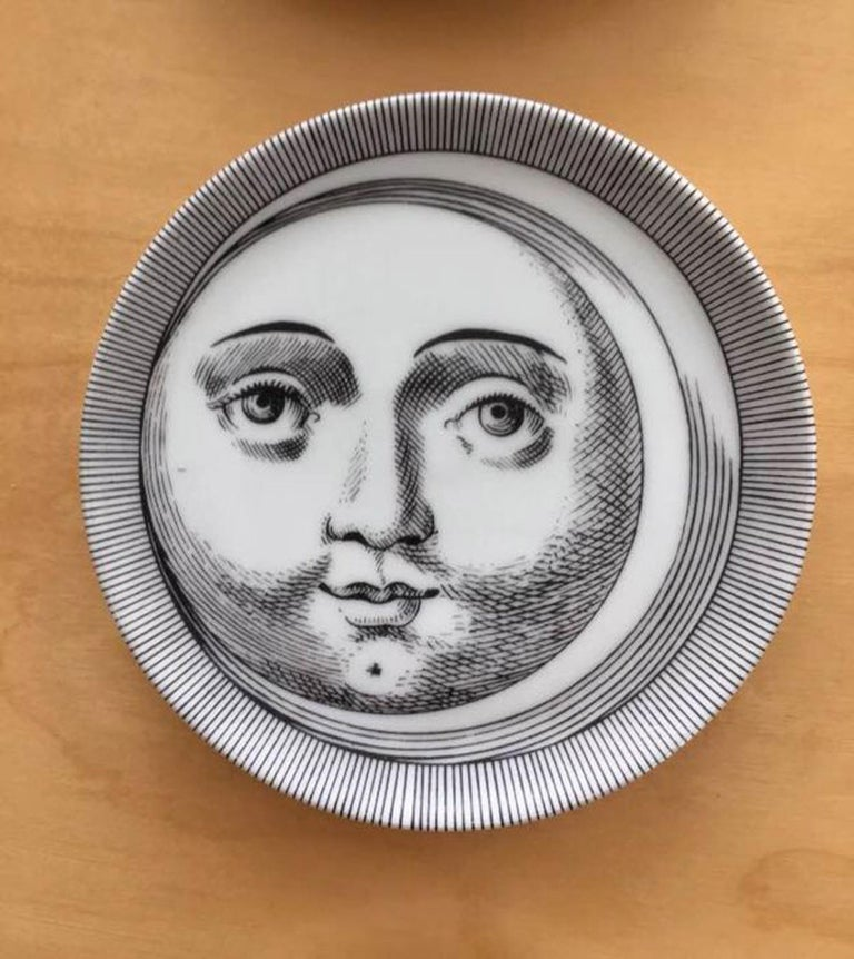 Porcelain Set of Fornasetti Atalier Soli E Lune, Sun & Moon Boxed Coaster Set For Sale