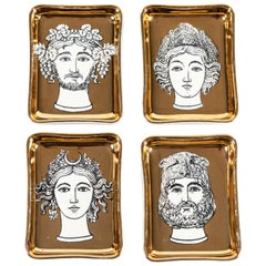 "Set of Fornasetti ""Four Seasons"" Ceramic Trays"