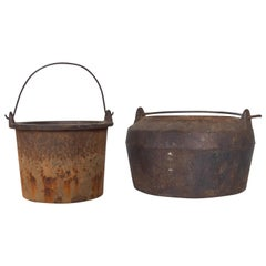 Set of Foundry Melting Pots Industrial Patinated Rustic Cauldron Metal Handle