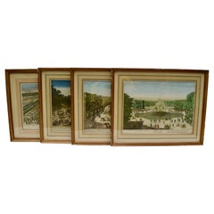 Set of Four 18 Century Copper Plate Colored Engravings of Versailles Gardens