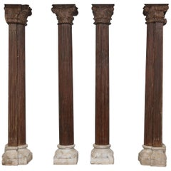 Set of Four 1820s Monumental Load Bearing Columns from an Old Mansion from Goa.