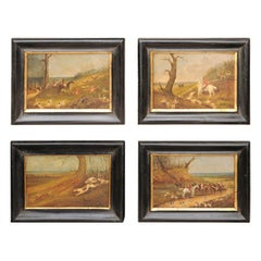 Set of Four 1889s English Framed Oil on Board Paintings Depicting Hunting Scenes