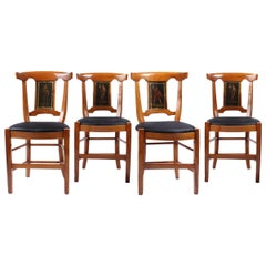 Set of Four 18th Century Chairs, France, Cherry, Painted, Directoire, circa 1800