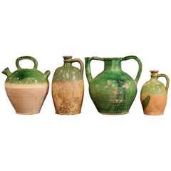 Set of Four 18th Century French Green Glazed Olive Jars from Provence