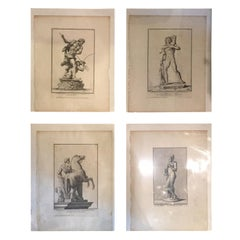 Set of Four 18th Century Italian Neoclassical Engravings of Statues
