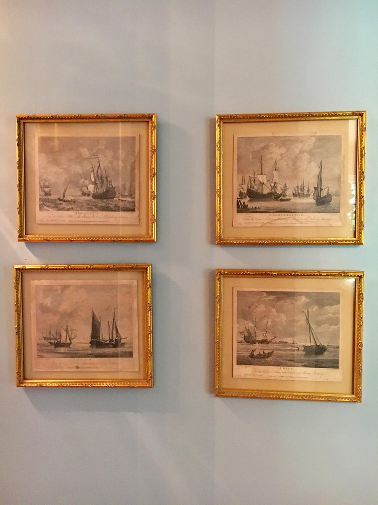 Gorgeous set of 4 maritime engravings of sail ships in various conditions by renowned 18th century engraver Pierre-Charles Canot.   Set comprised of 4 nautical motifs after Wm van de Welde: