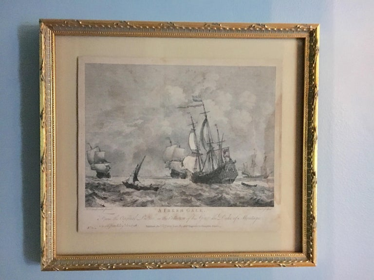 English Set of Four 18th Century Marine Engravings by P.C. Canot For Sale