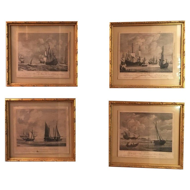 Set of Four 18th Century Marine Engravings by P.C. Canot For Sale