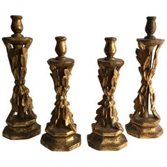 Set of Four 18th Century Spanish Giltwood Candlestick