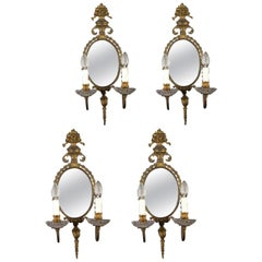 Set of Four 19th Century Delicious Gilt Bronze Two-Light Mirror Wall Sconces
