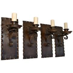 Set of Four 1920s Rustic Sconces