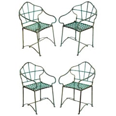 Set of Four 1930s Iron Patio Chairs with Original Verdigris Patina