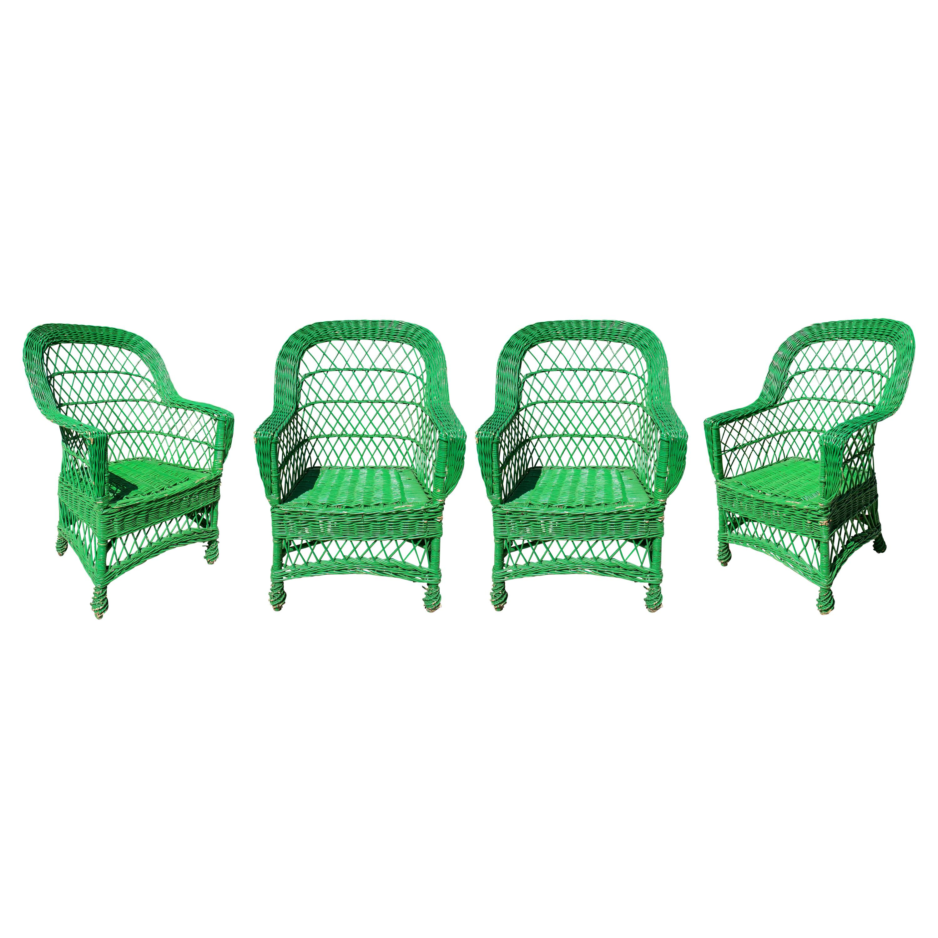 Set of Four 1950s Spanish Green Lace Wicker Armchairs