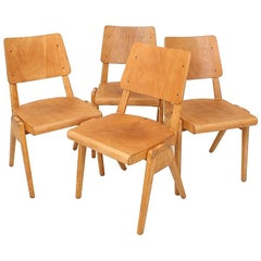 Set of Four 1950s Vintage Stacking Chairs