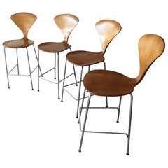 Set of Four 1958 Metal Based Counter Stools by Norman Cherner
