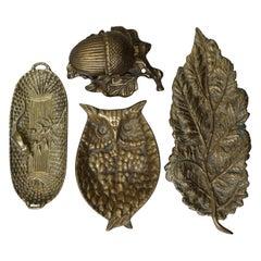 Set of Four 1960s Brass Trinket Dishes Vide Poche, Acorn, Leaf, Owl, Basket