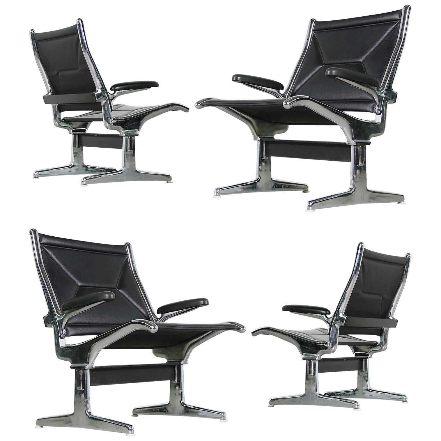 Set of Four 1960s Charles Eames Airport Chairs for Herman Miller, Black & Chrome