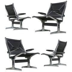 Vier Charles Eames Airport Stühle für Herman Miller, Schwarz & Chrom, 1960er