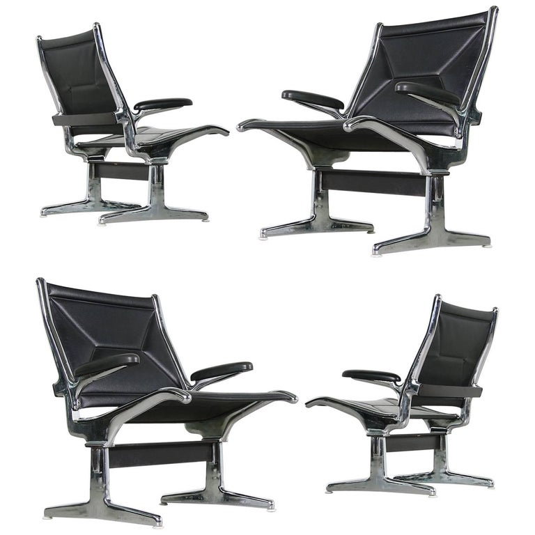 set of four 1960s charles eames airport chairs for herman miller black and chrome for sale at. Black Bedroom Furniture Sets. Home Design Ideas