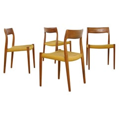 Set of Four 1960s Danish Teak Dining Room Chairs by Niels O. Moller Mod. 77