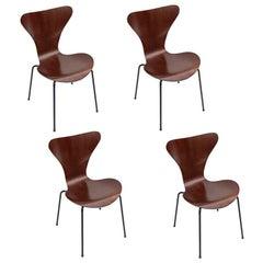 Set of Four 1960s Formiga Brazilian Jacaranda and Metal Dining Chairs