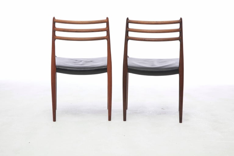 Mid-Century Modern Set of Four 1960s Model 78 Rosewood Chairs by Niels O. Møller
