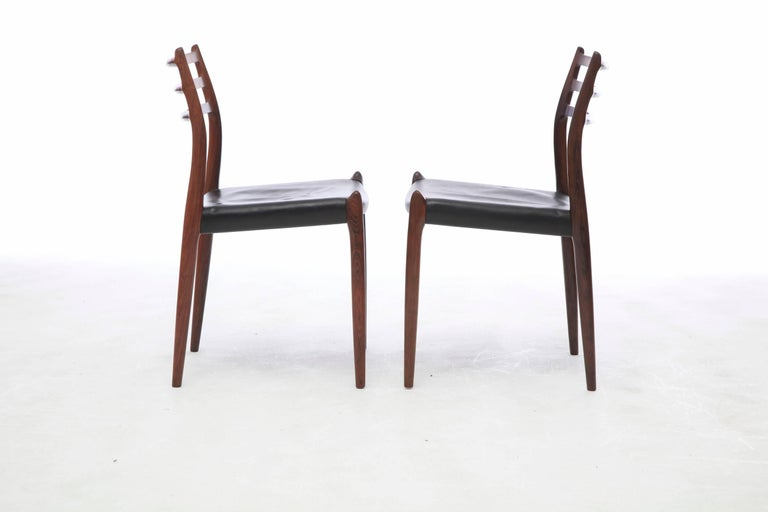 Danish Set of Four 1960s Model 78 Rosewood Chairs by Niels O. Møller