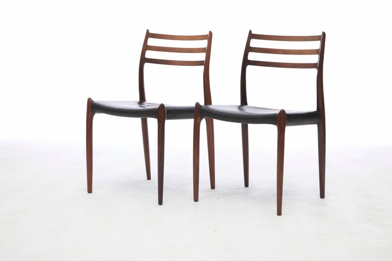 Mid-20th Century Set of Four 1960s Model 78 Rosewood Chairs by Niels O. Møller