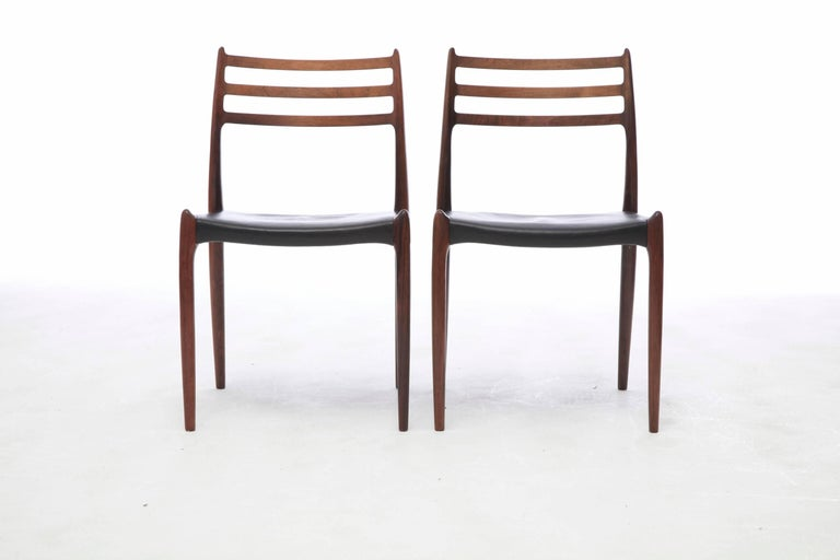 Palisander Set of Four 1960s Model 78 Rosewood Chairs by Niels O. Møller