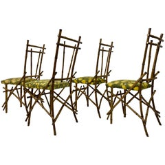 Set of Four 1970s Italian Bamboo Dining Chairs
