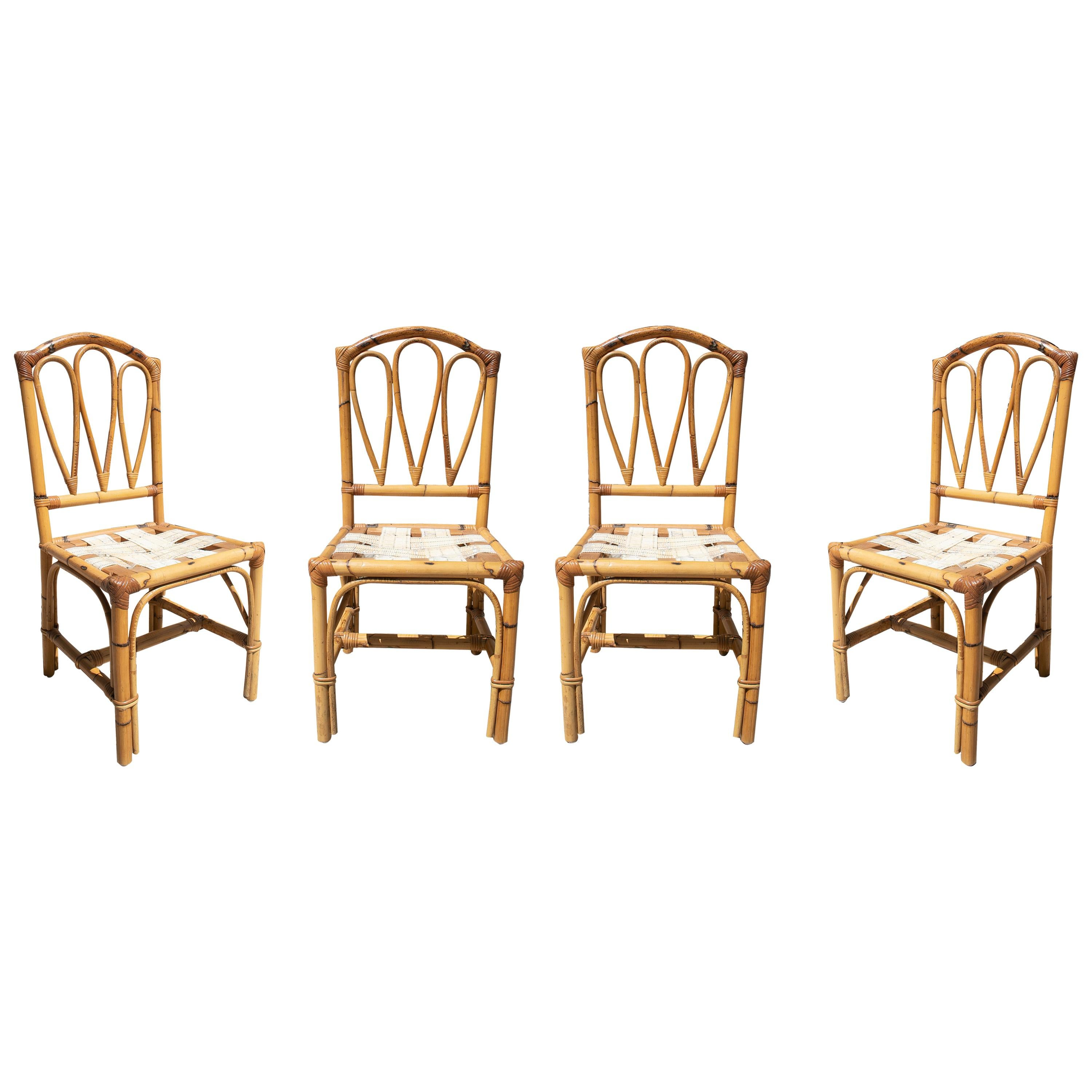 Set of Four 1970s Spanish Bamboo Chairs