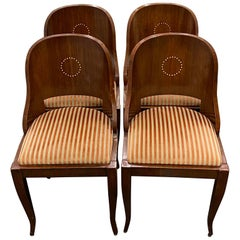 """Set of Four American Empire """"Gondola"""" Style Dining Chairs with Inlay"""