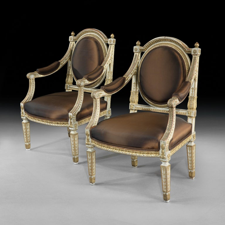 Neoclassical Revival Set of Four Italian Painted and Parcel-Gilt Armchairs of Neoclassical For Sale