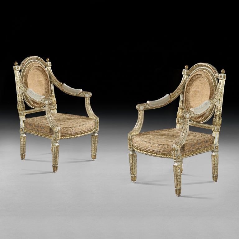 19th Century Set of Four Italian Painted and Parcel-Gilt Armchairs of Neoclassical For Sale
