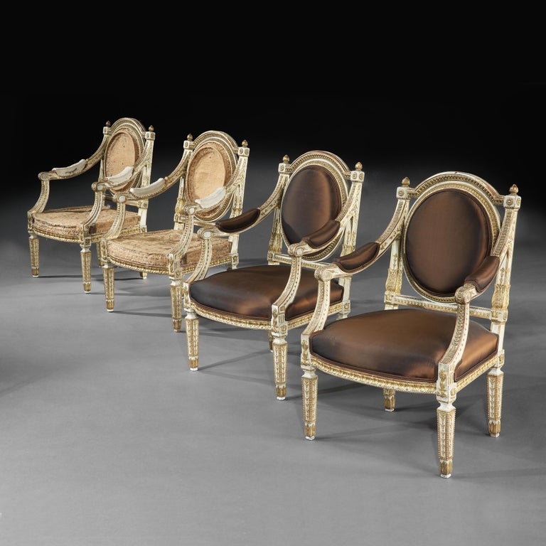 Giltwood Set of Four Italian Painted and Parcel-Gilt Armchairs of Neoclassical For Sale