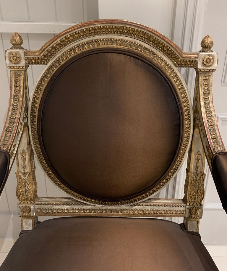 Set of Four Italian Painted and Parcel-Gilt Armchairs of Neoclassical For Sale 2